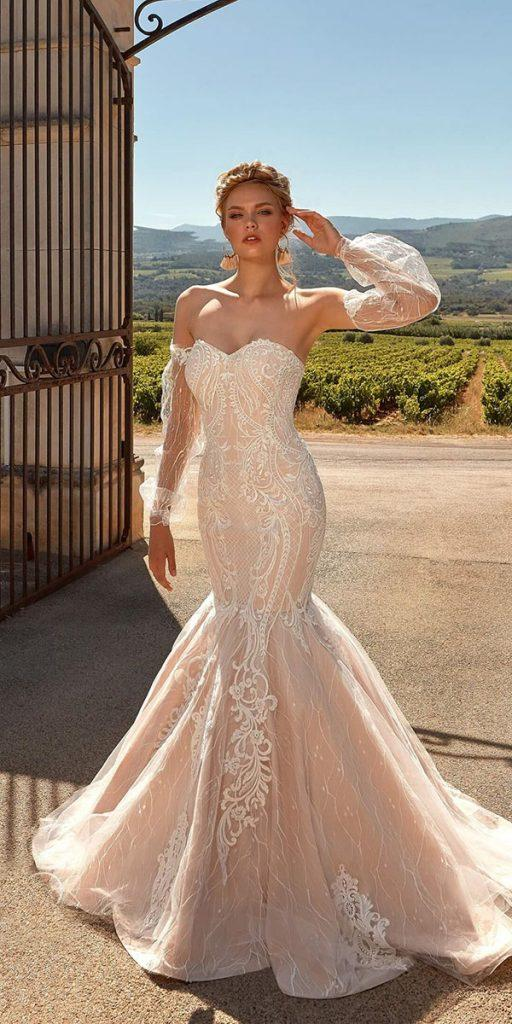 trendy wedding dresses mermaid detached sleeves sweetheart lace blush ariamo