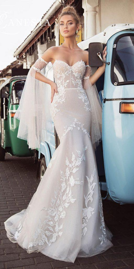 trendy wedding dresses mermaid sweetheart strapless with detached sleeves lanesta