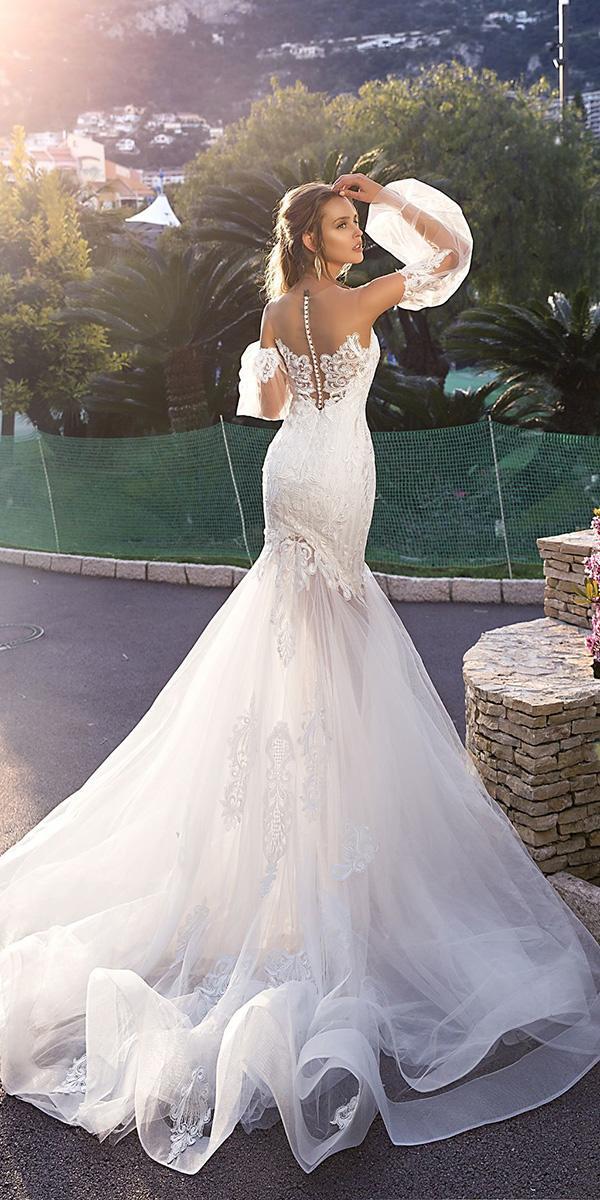 trendy wedding dresses mermaid with detached sleeves lace tina valerdi