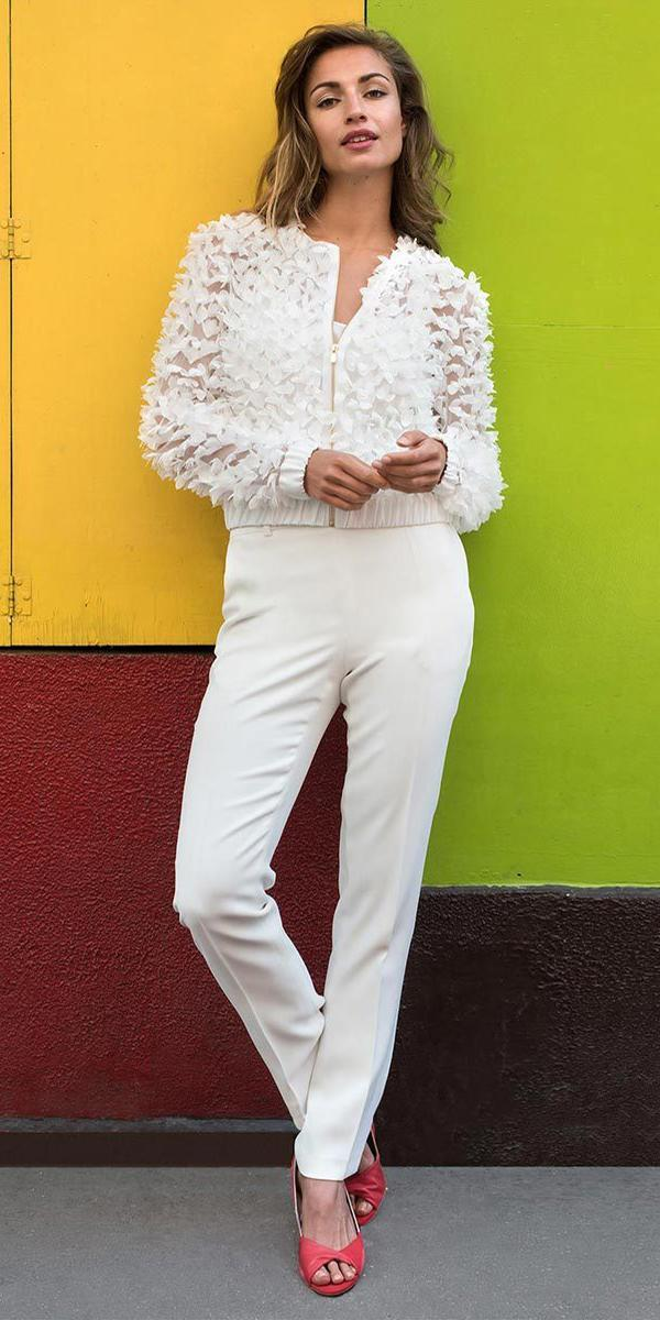 trendy wedding dresses pantsuit with jacket 2018 marie laporte