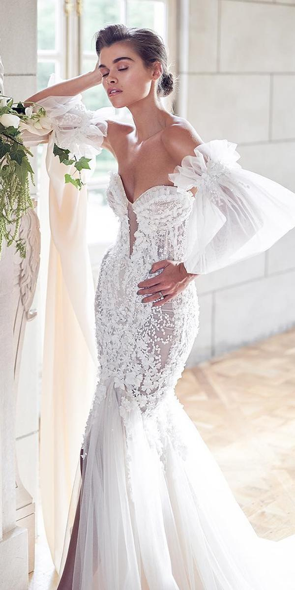 trendy wedding dresses sexy mermaid with detached sleeves pallas couture