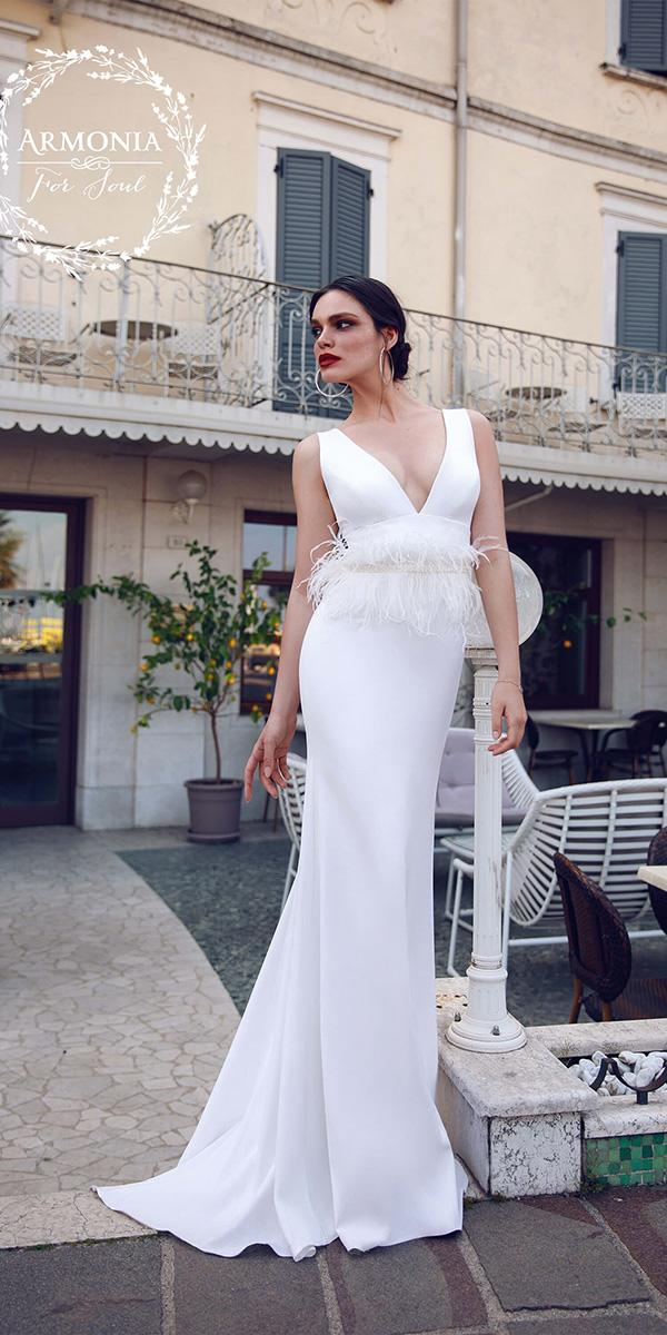 trendy wedding dresses sheath deep v neckline with fringe armonia