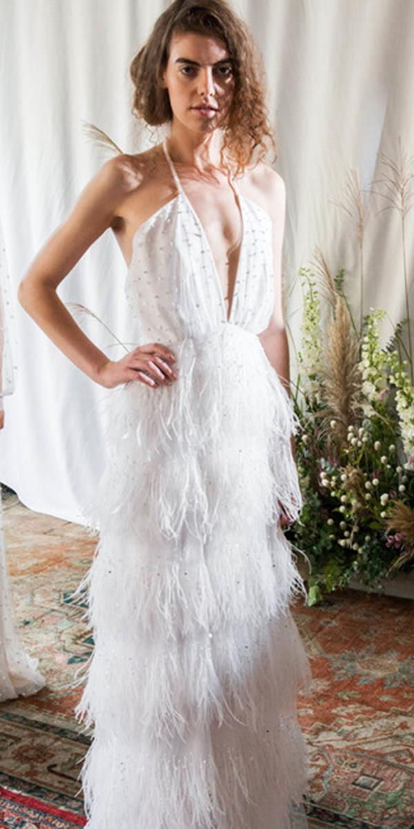 trendy wedding dresses deep v neckline with fringe alexandra grecco