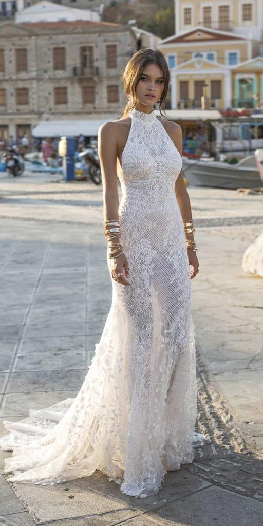 trendy wedding dresses sheath halter neckline lace sleeveless for beach lian rokman