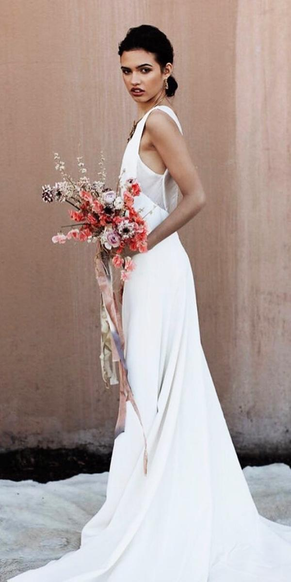 trendy wedding dresses sheath simple sleeveless floravere