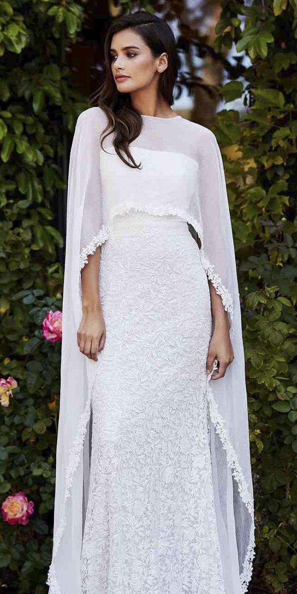 trendy wedding dresses sheath straight across with cape tadashi shoji
