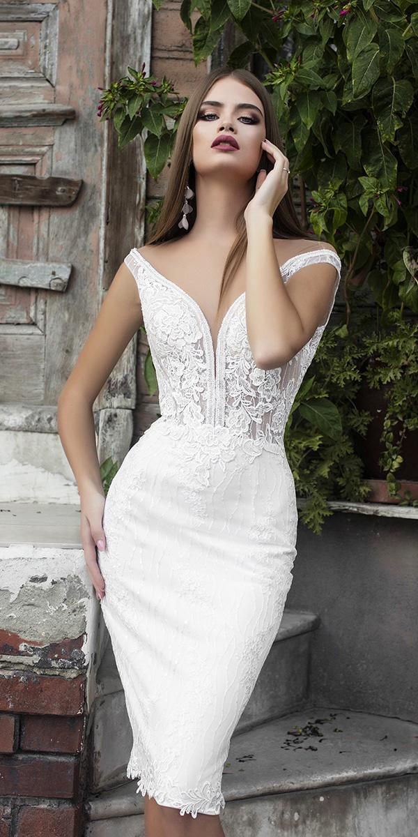 trendy wedding dresses short deep v neckline lace floral embellishment