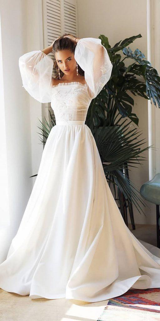 trendy wedding dresses simple a line with sleeves straight neckline alex veil