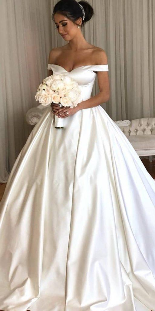 trendy wedding dresses simple ball gown off the shoulder sweetheart neckline personalised couture