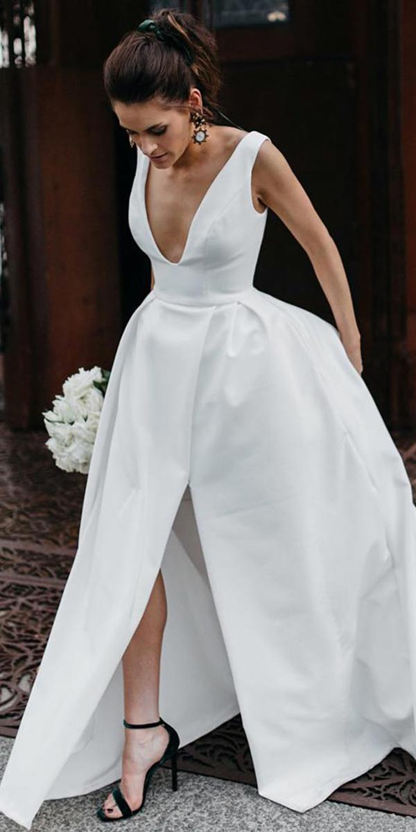 trendy wedding dresses simple ball gown sexy plunging neckline elly sofocli