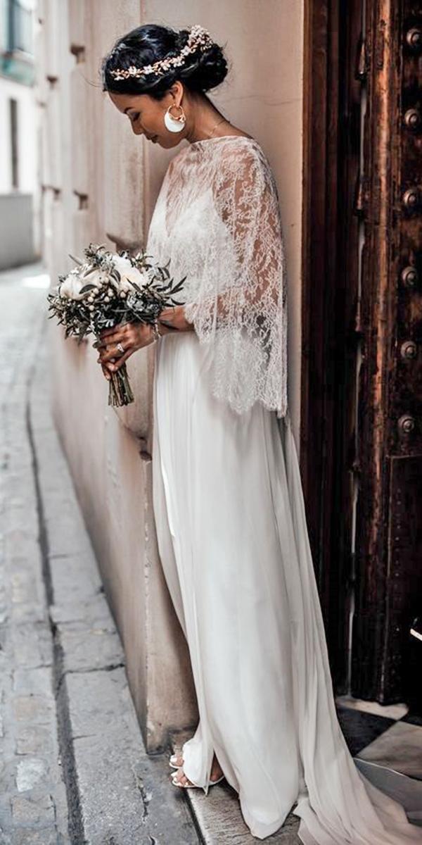 trendy wedding dresses simple with lace cape monique lhuillier