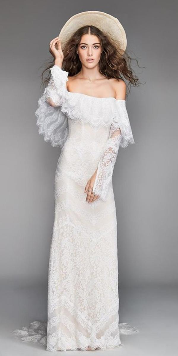 trendy wedding dresses straight across lace with sleeves willow by watters