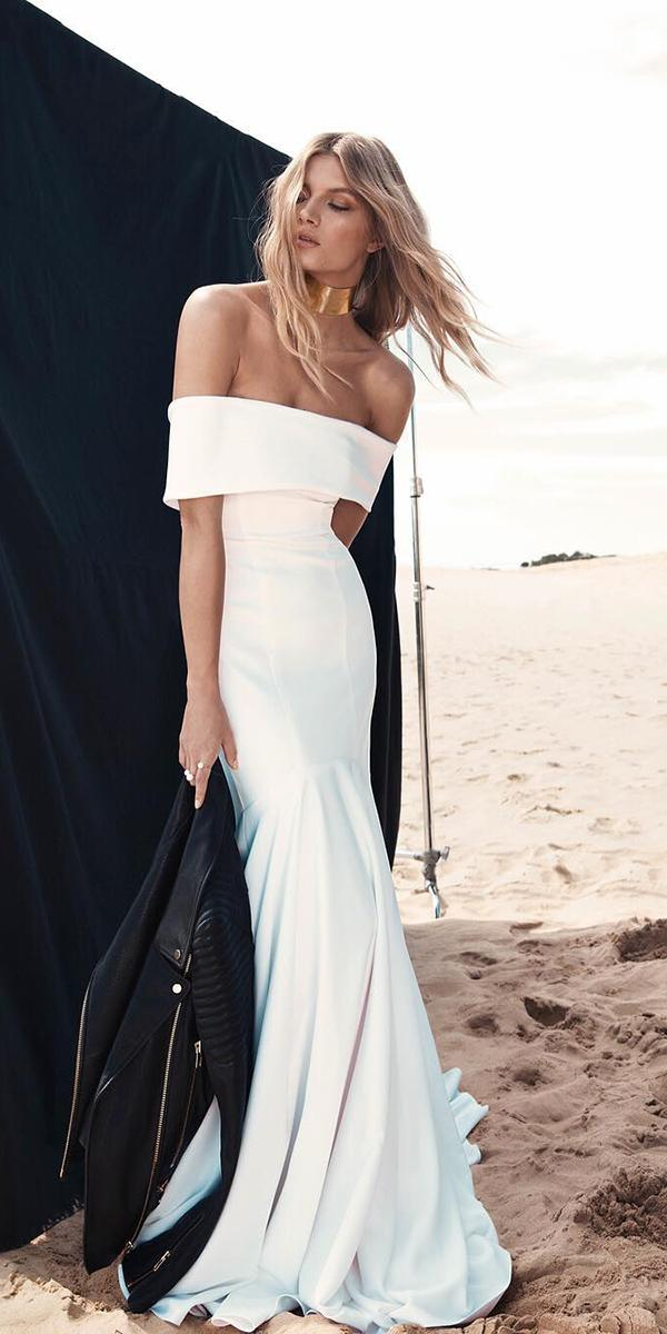 trendy wedding dresses straight across shoulder simple beach oneday bridal