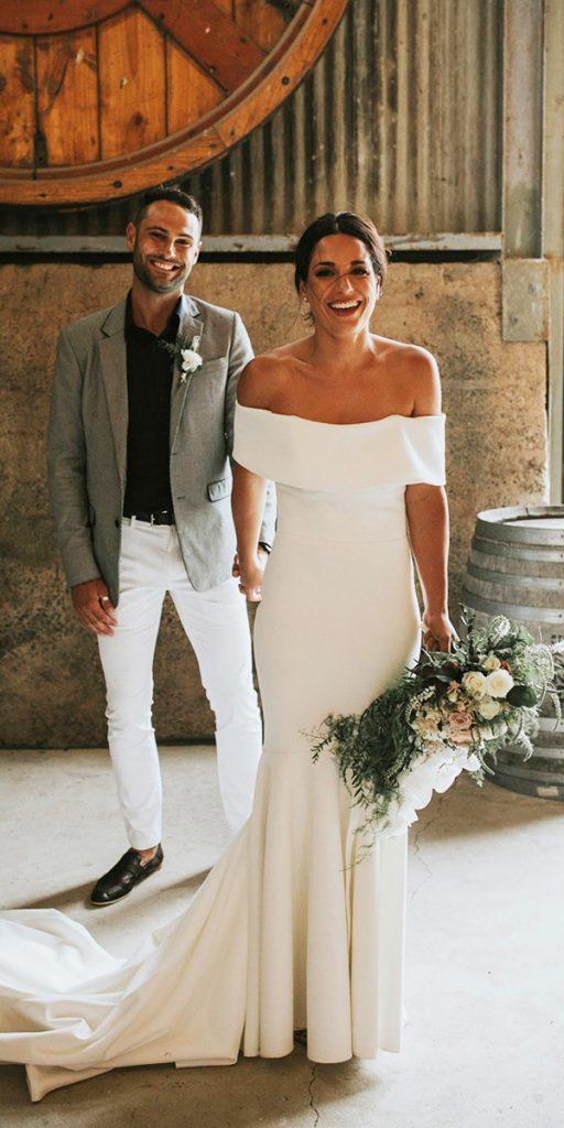 trendy wedding dresses straight neckline simple calista one