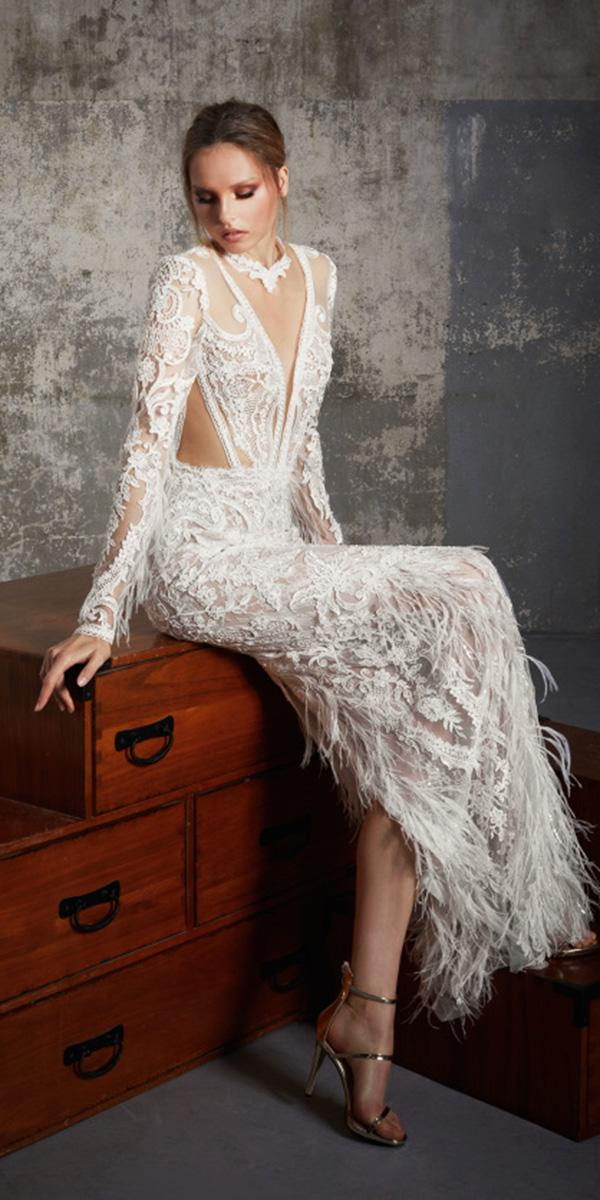 trendy wedding dresses with illusion long sleeves fringe lior charchy