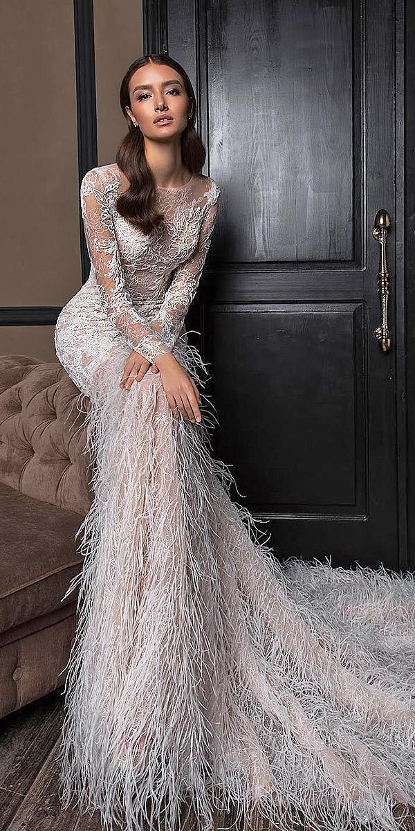 trendy wedding dresses with long sleeves fringe 2018 crystal design
