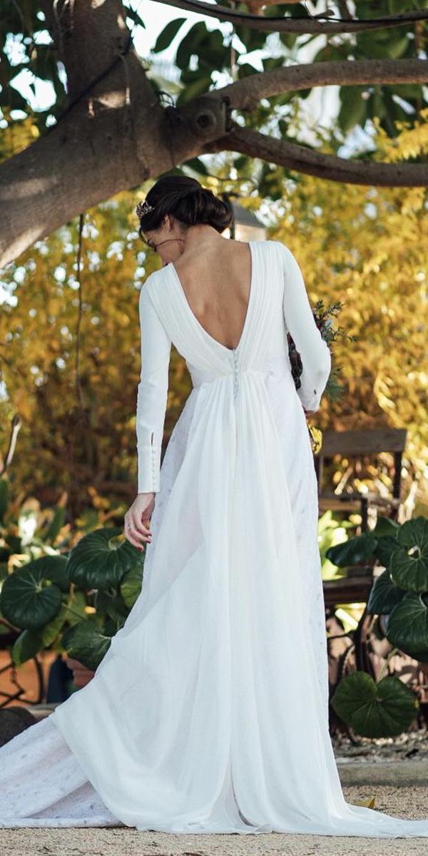 trendy wedding dresses with sleeves a line v back elegant kiwo estudio