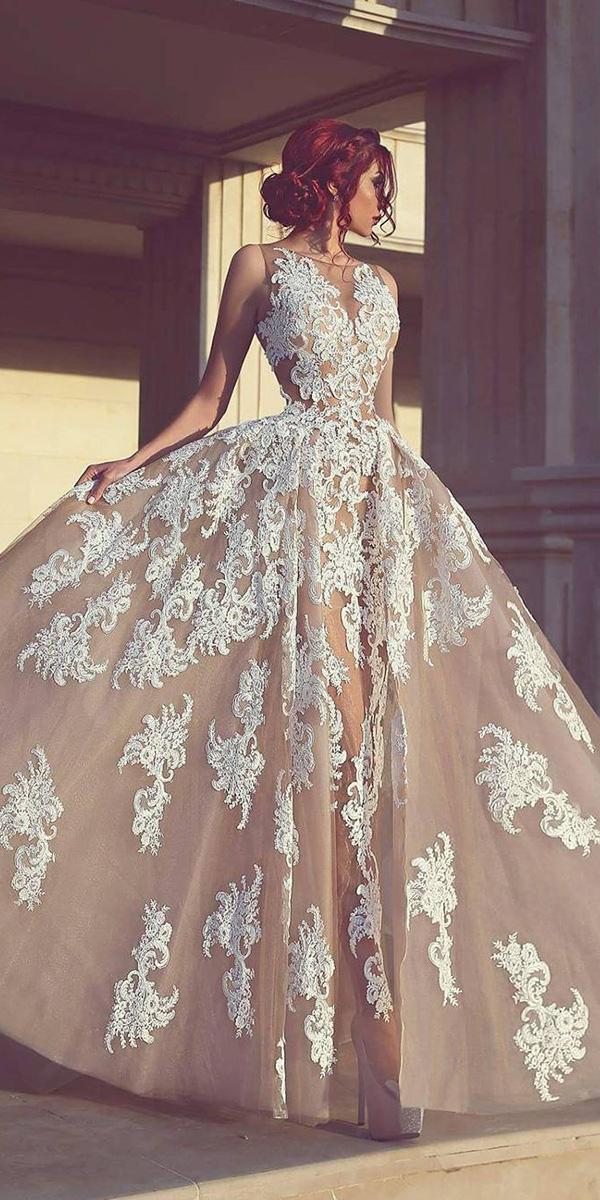 unique lace wedding dresses a line champagne luxury eden haute couture