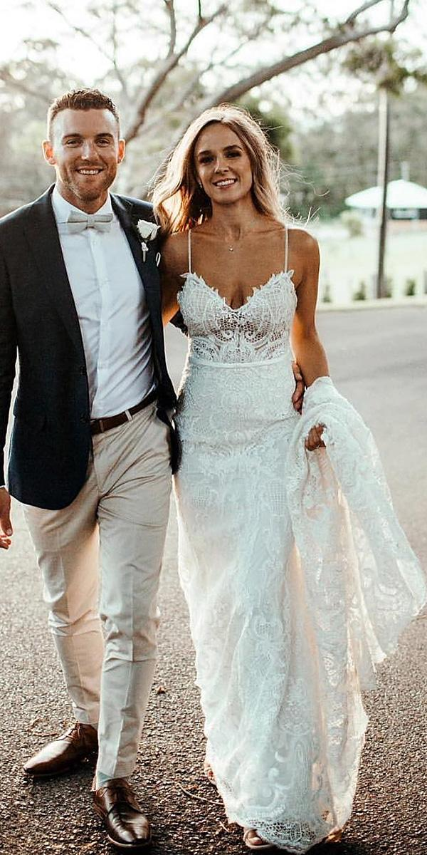 unique lace wedding dresses boho with spaghetti straps summer made with love bridal