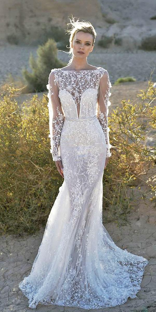 unique lace wedding dresses lian rokman mermaid deep v neckline with long sleeves floral appliques