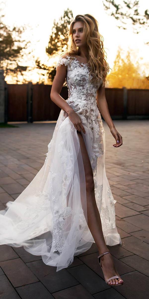 unique lace wedding dresses off the shoulder with-floral appliques slit beach florence dresses