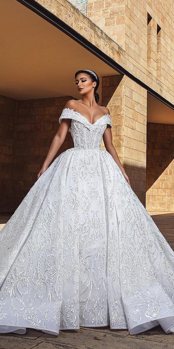 unique lace wedding dresses princess off the shoulder ahmad younes photography