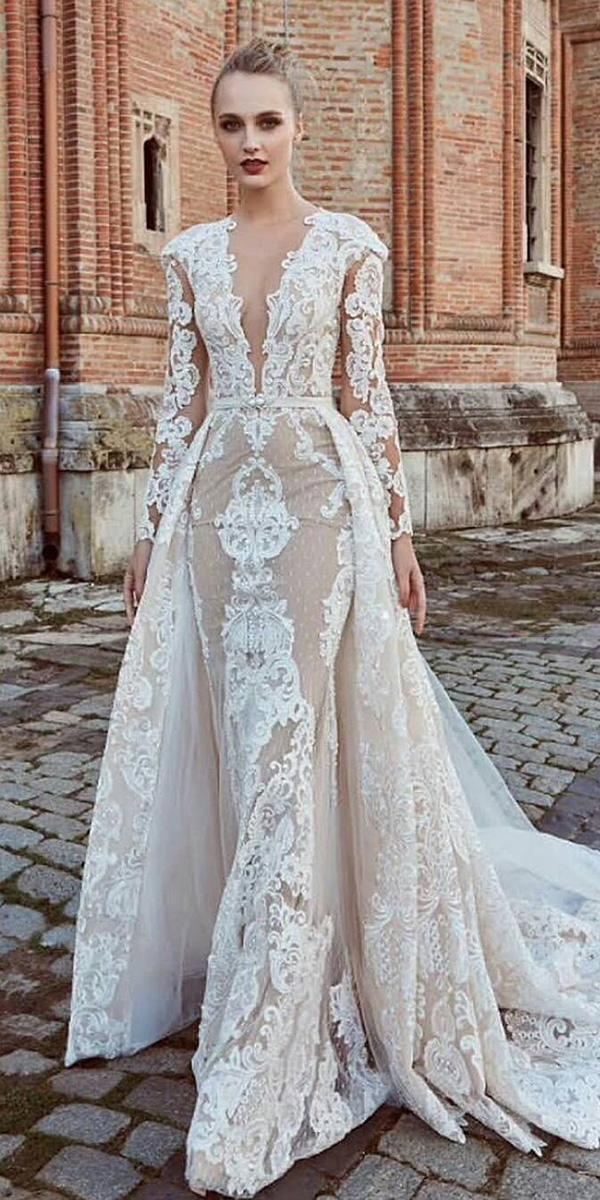 unique lace wedding dresses shaeth with long sleeves overskirt miriams bride