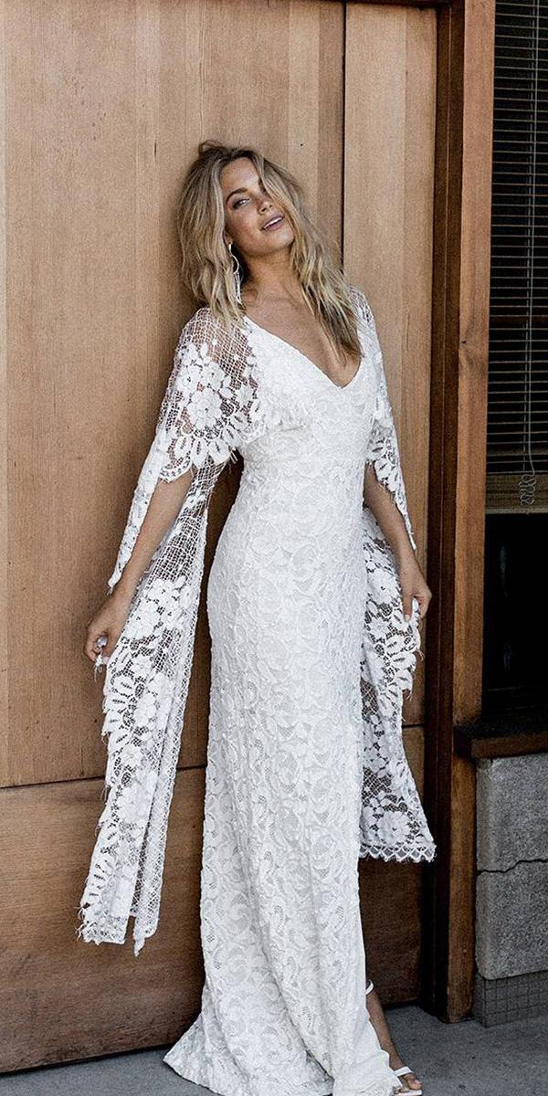 unique lace wedding dresses sheath with cape beach boho grace loves lace