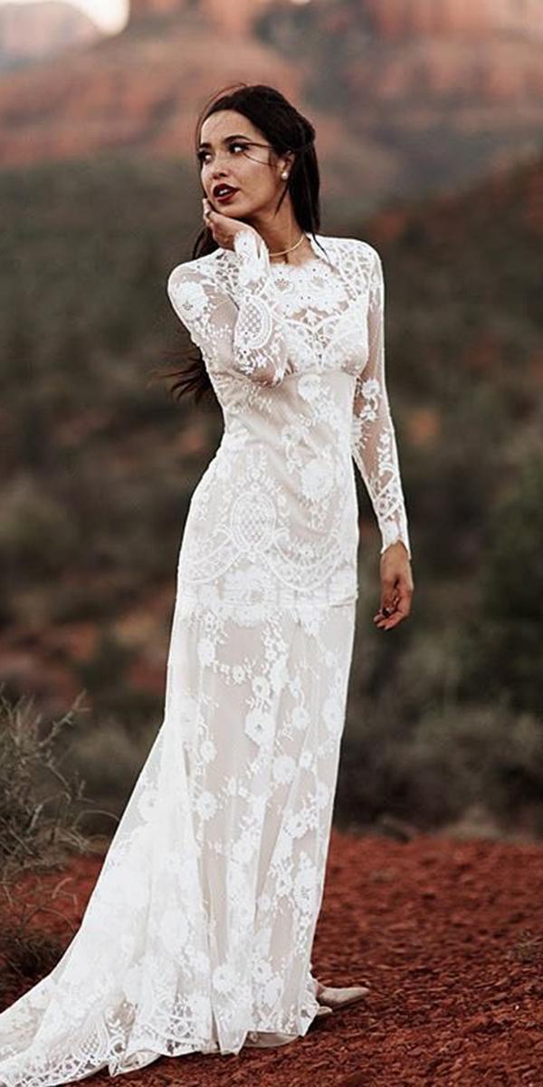 unique lace wedding dresses sheath with long sleeves beach boho claire pettibone