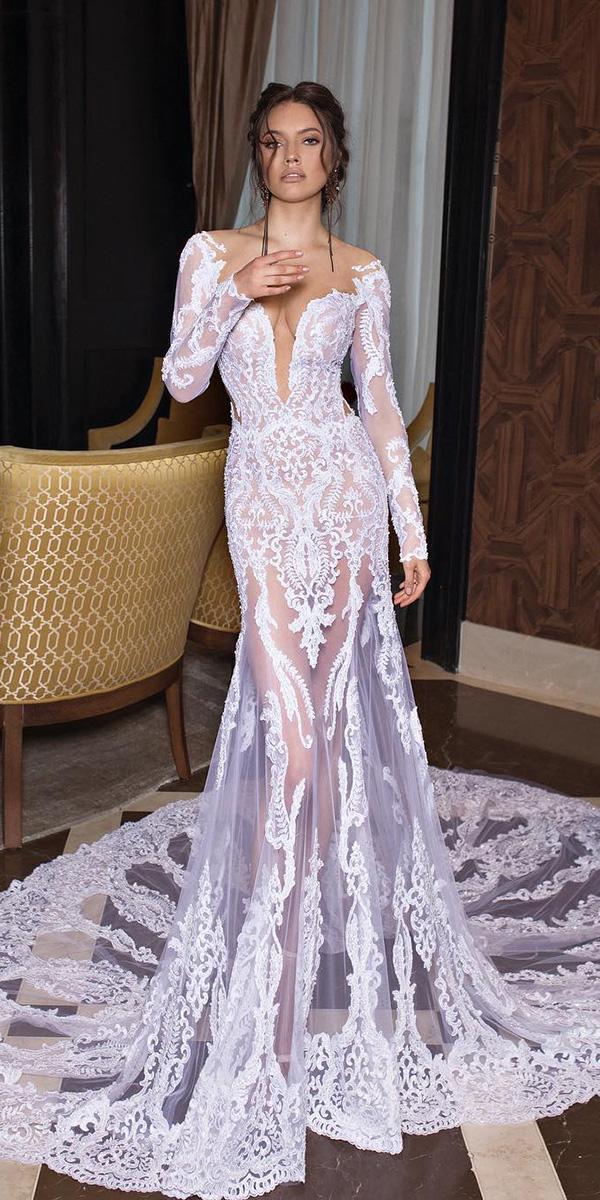 unique lace wedding dresses sheath with long sleeves sexy 2018 dimitrius dalia