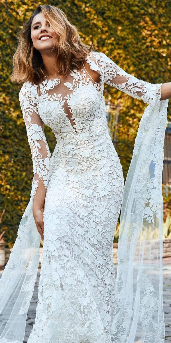 unique lace wedding dresses sheath with three quote sleeves pronovias