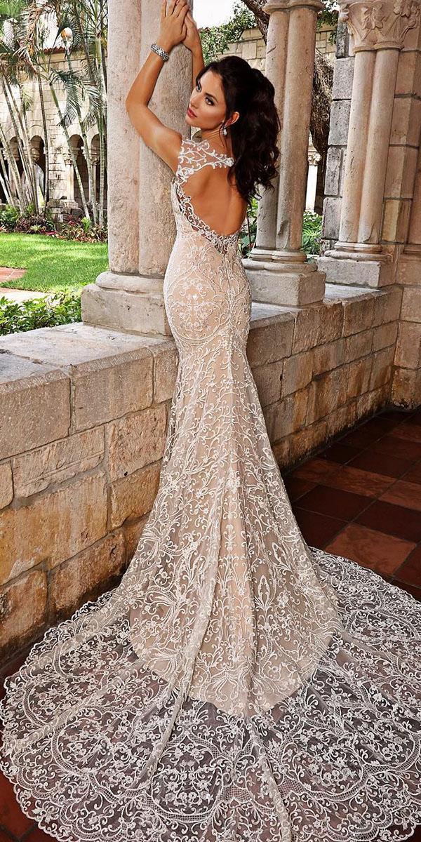 unique lace wedding dresses trumpet open back with train luxury-cristiano lucci bridal