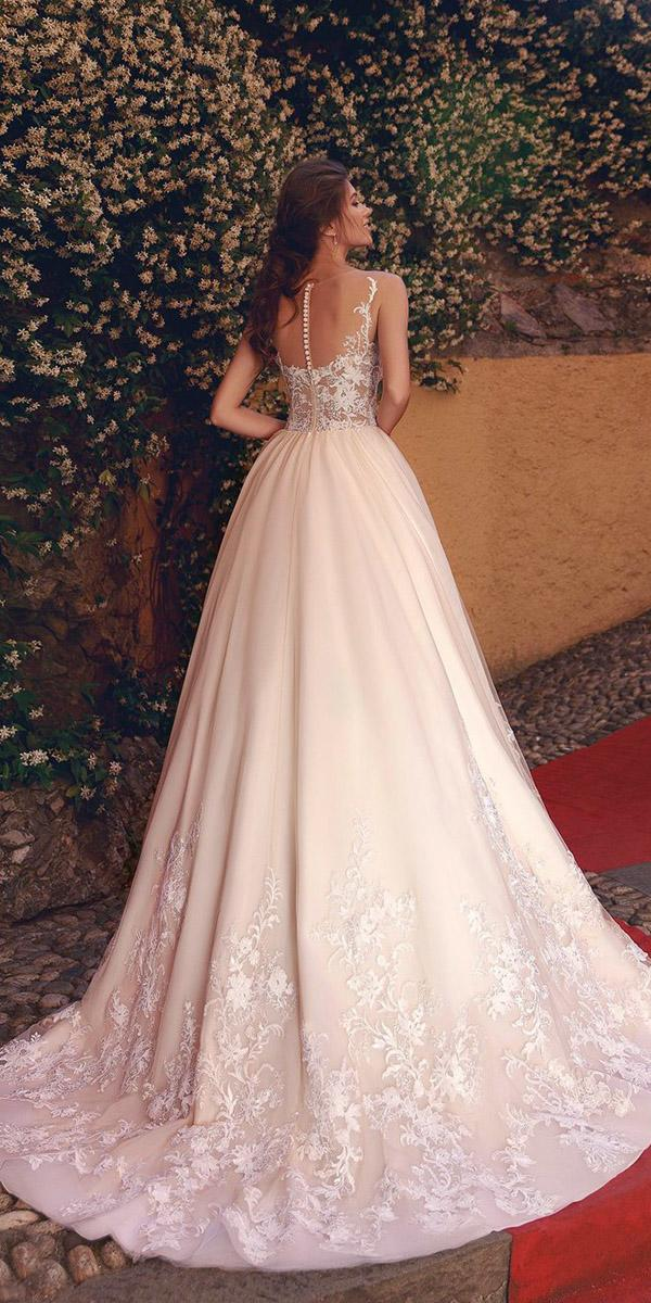 viero wedding dresses a line illusion back with buttons 2018