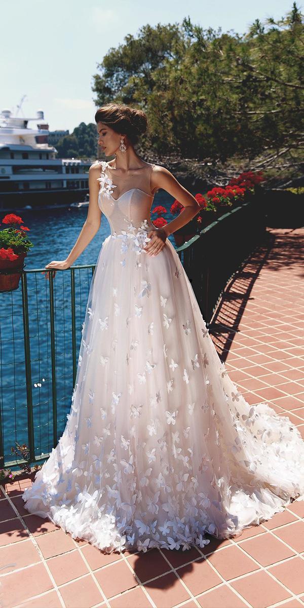viero wedding dresses a line illusion neckline floral appliques