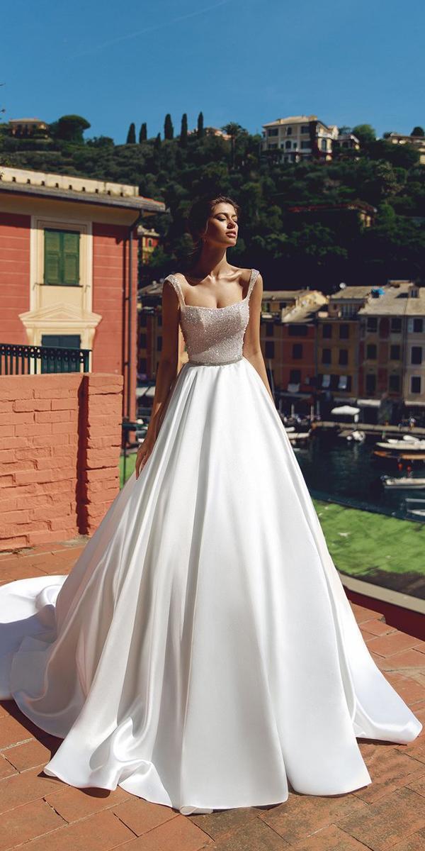 viero wedding dresses a line square neckline sequins 2018