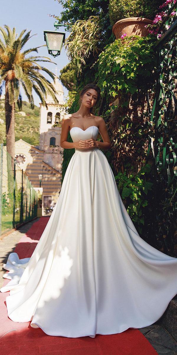 viero wedding dresses a line sweetheart simple satin 2018
