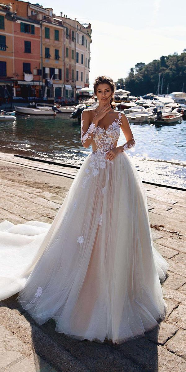 viero wedding dresses a line with illusion neckline long sleeves floral