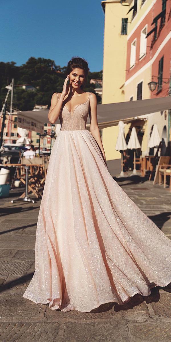 viero wedding dresses a line with illusion neckline with straps blush sequins 2018