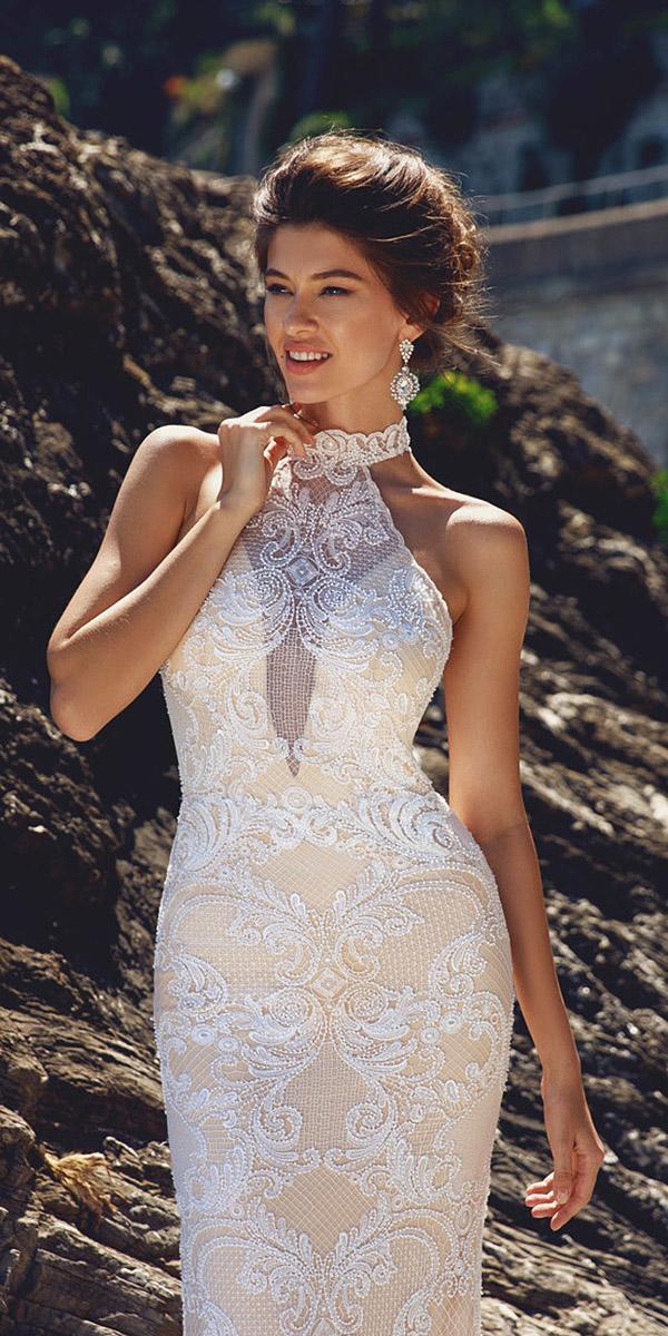 viero wedding dresses illusion deep neckline halter lace details