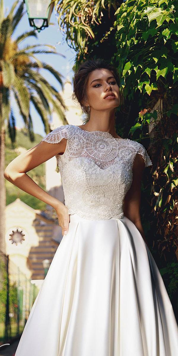 viero wedding dresses lace top details with cap sleeves