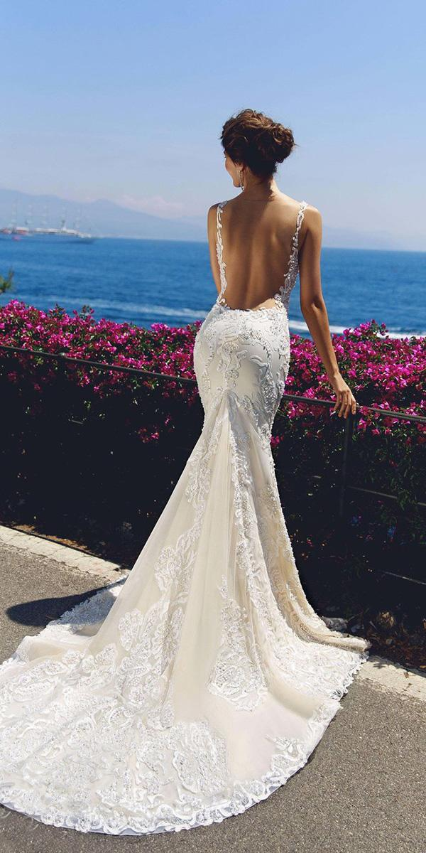 viero wedding dresses mermaid backless skirt with sheer straps lace 2018