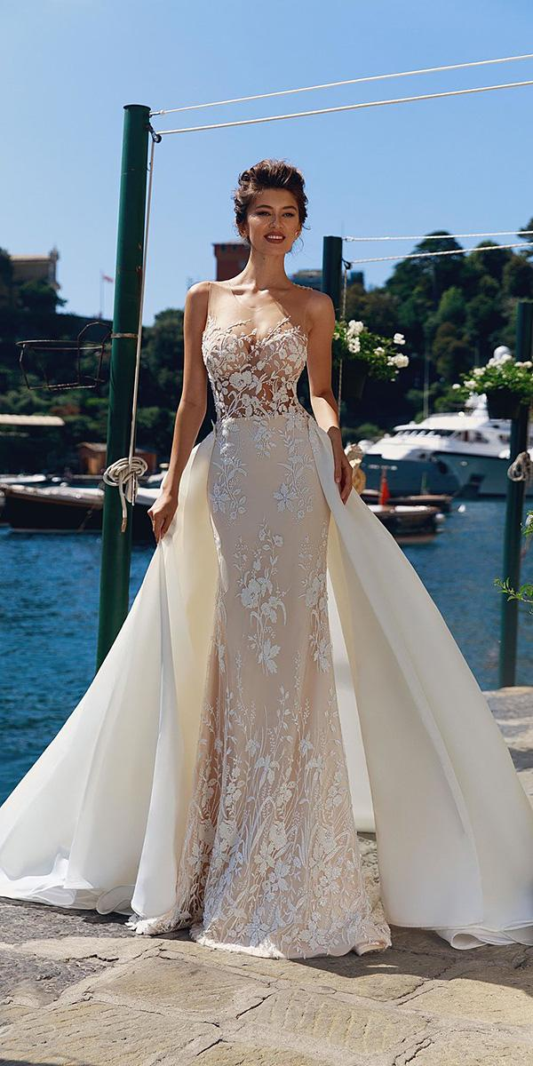 viero wedding dresses mermaid illusion neckline floral beaded blush 2018