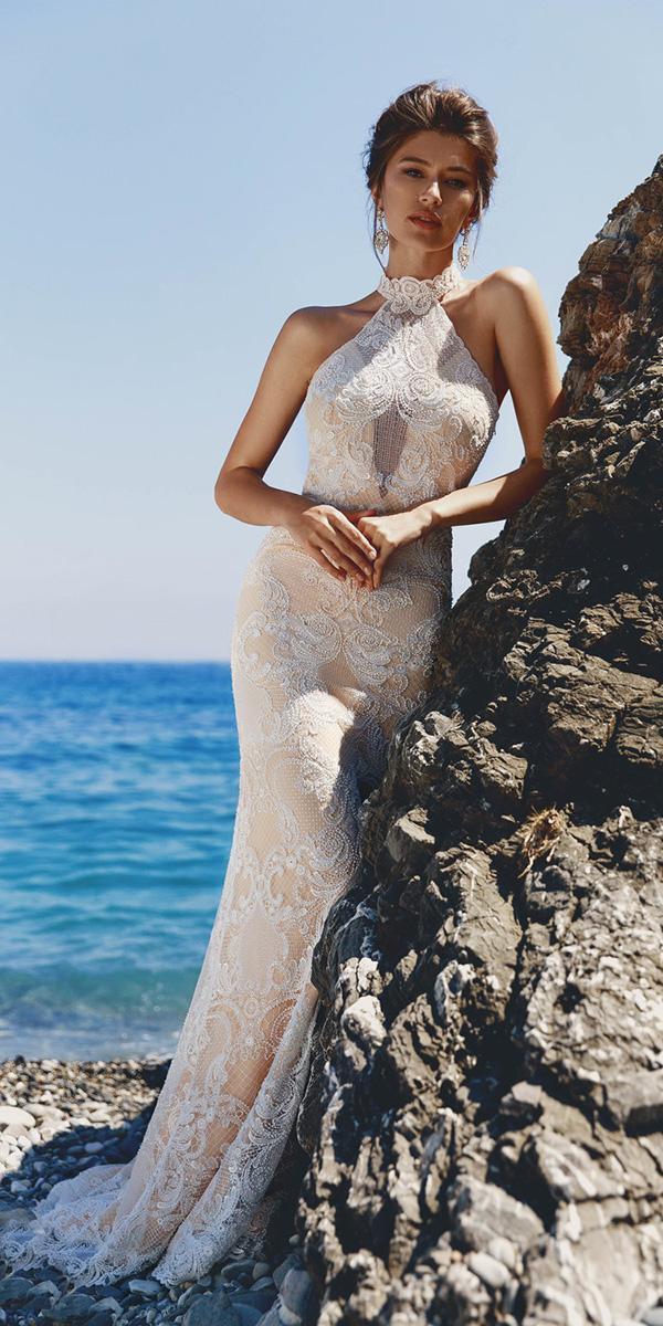viero wedding dresses sheath halter neckline lace 2018