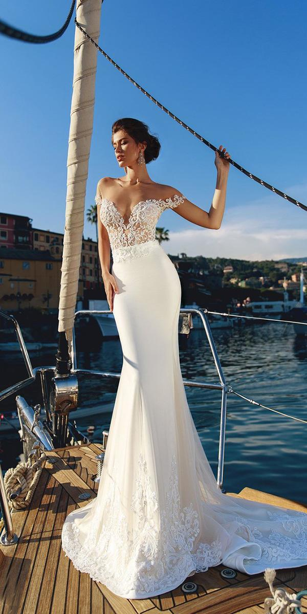 viero wedding dresses trumpet off the shoulder beaded embroidery 2018