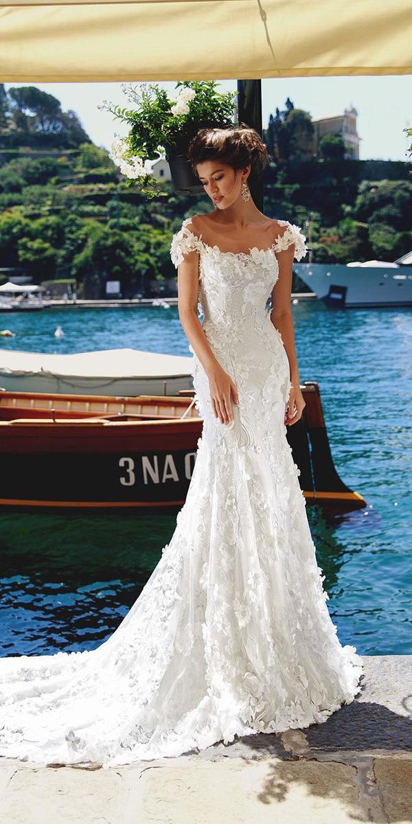 viero wedding dresses trumpet off the shoulder floral appliques