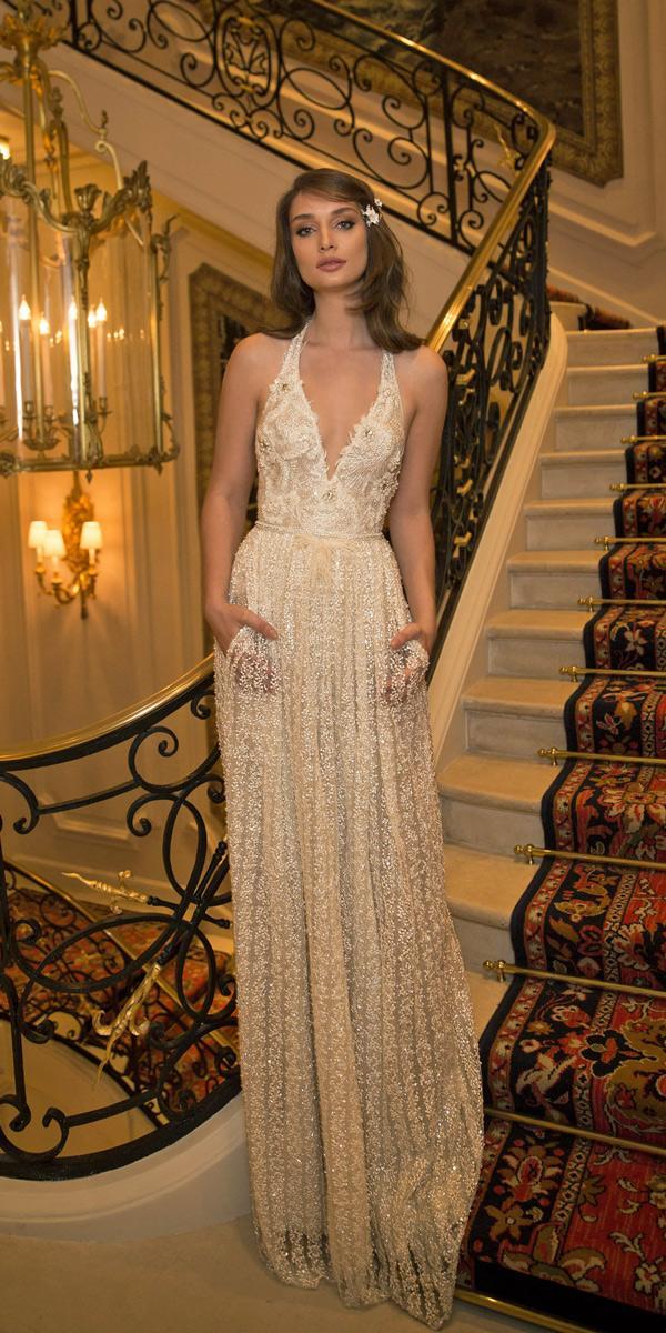 vintage wedding dresses 1920s halter deep v neckline embellishment bodice straight netta ben shabu