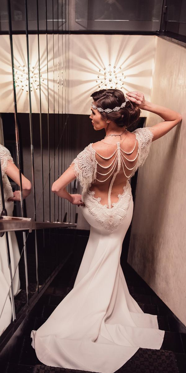 vintage wedding dresses 1920s mermaid low back embroidered backless lace with sleeves galia lahav