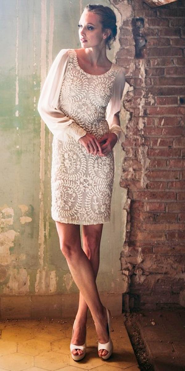 vintage wedding dresses 1920s short long sleeves with embellishment bodice whiteday