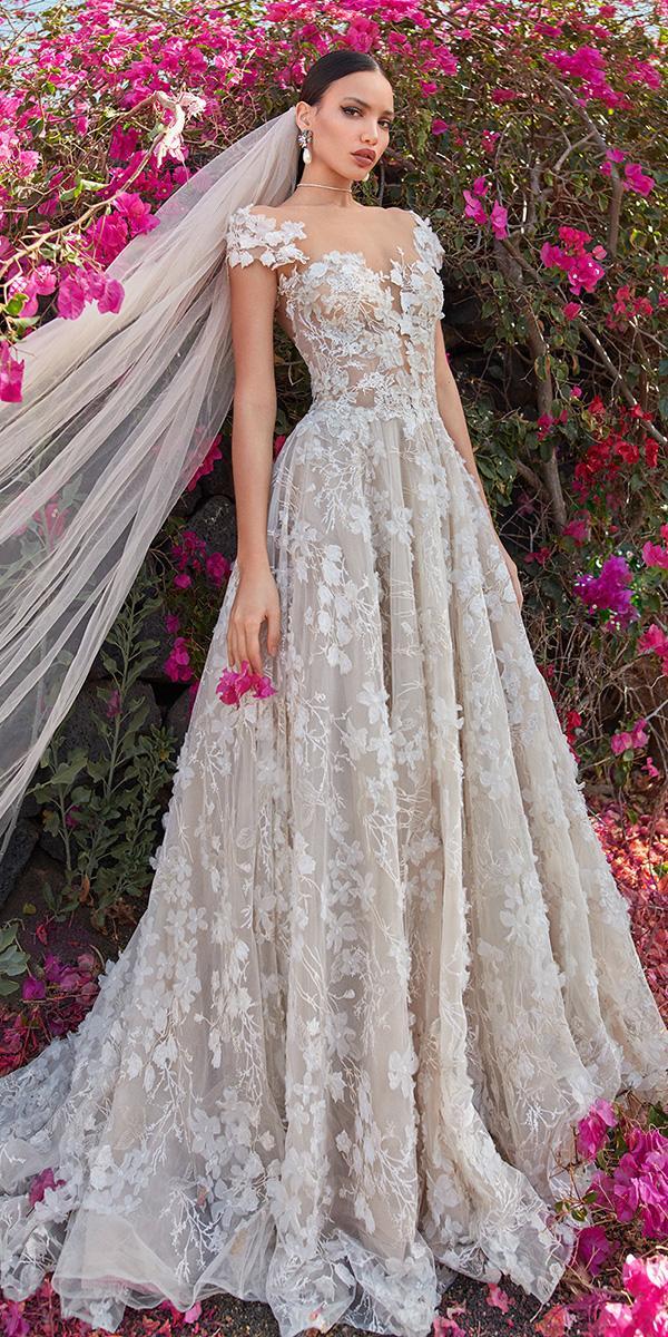 a line off the shoulder neckline 3d floral embroidered 2018 galia lahav wedding dresses