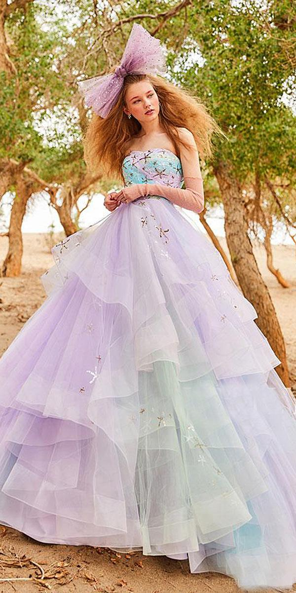 ball gown ruffled skirt ombre purple color tiglily 2018 wedding dresses